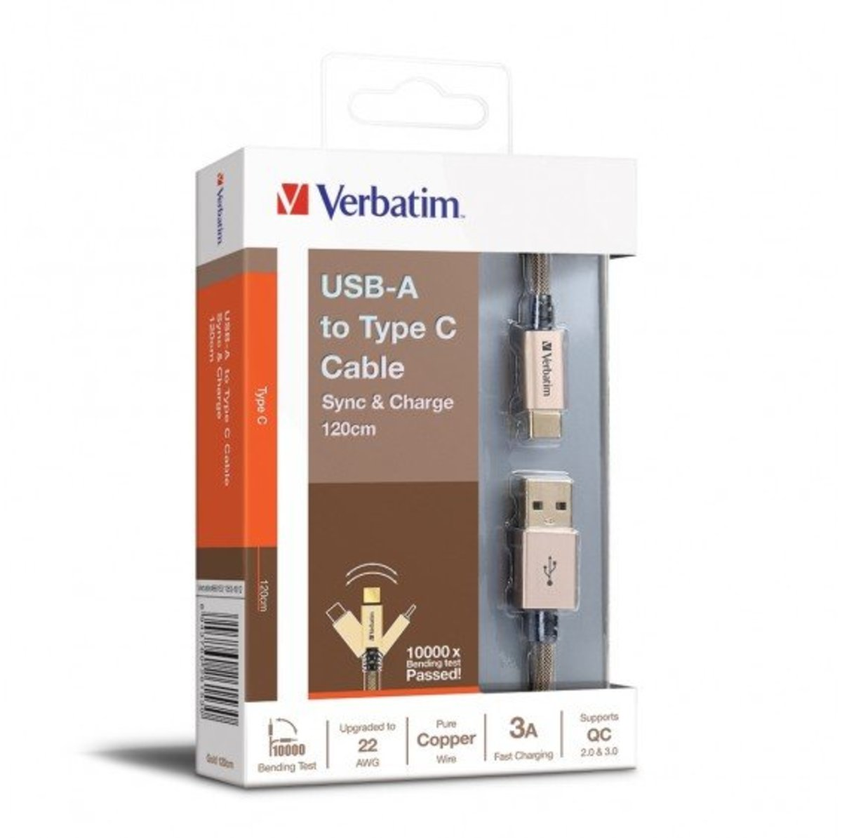 USB-A to Type C 22AWG 充電傳輸線[120cm][66153][金色]