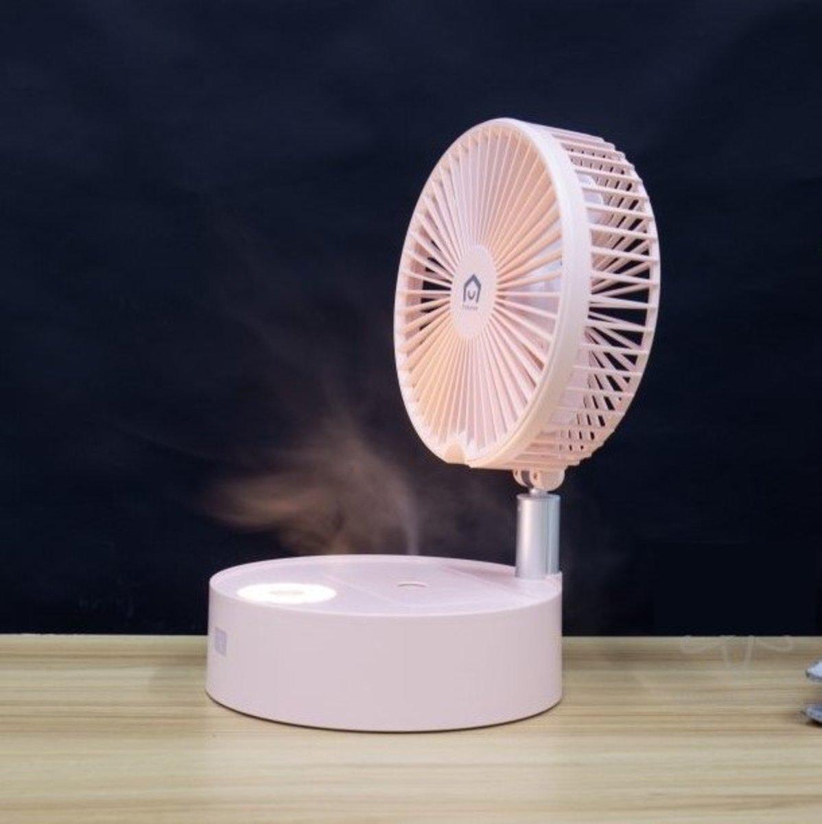 Folding Humidifier Fan - Pink