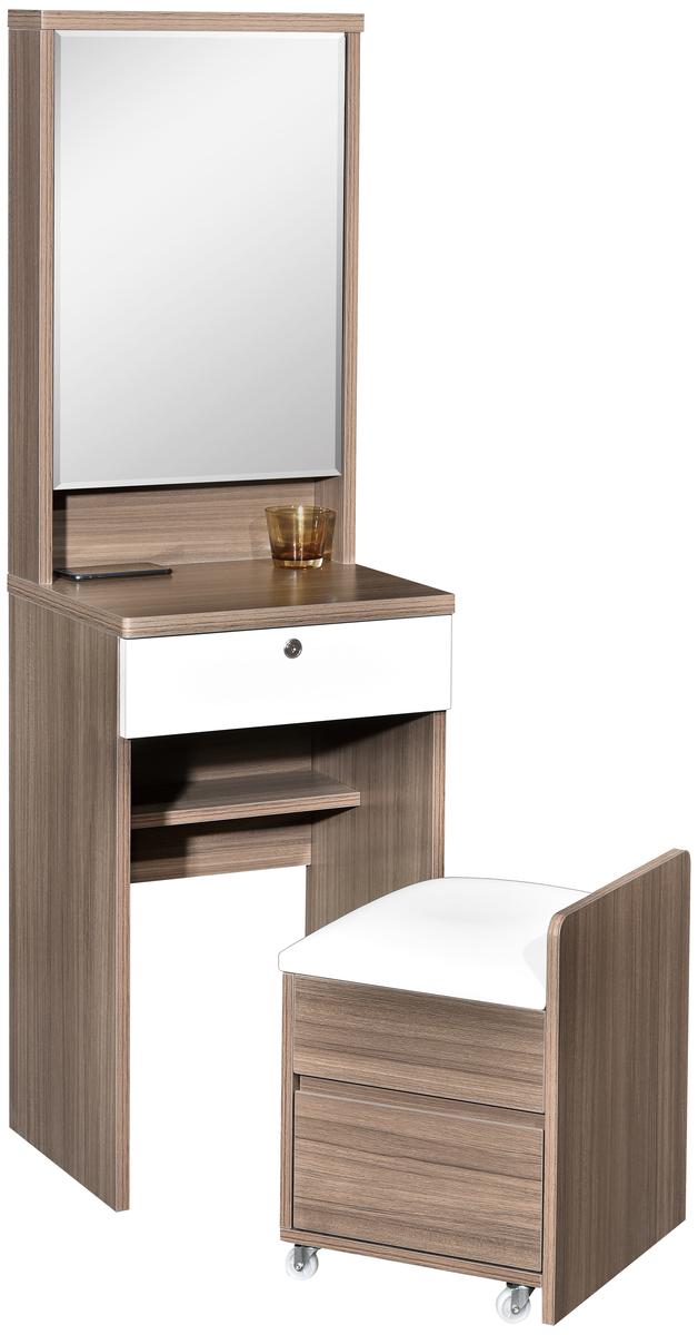 128-246 鏡箱梳妝台連椅 (多儲物格)