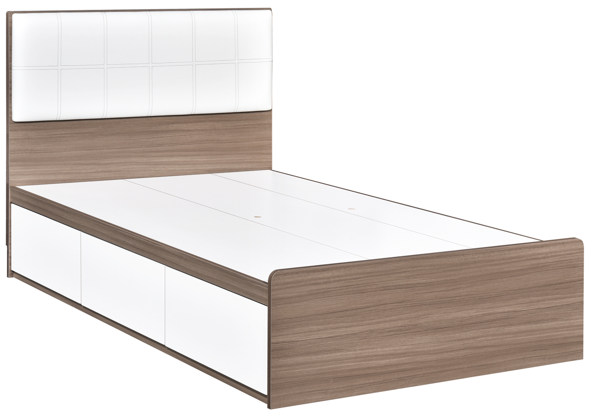 128-261+3672 Single Bed with 3 drawers (Soft pad headboard) Product sizes(mm) : W926xL1878xH1020