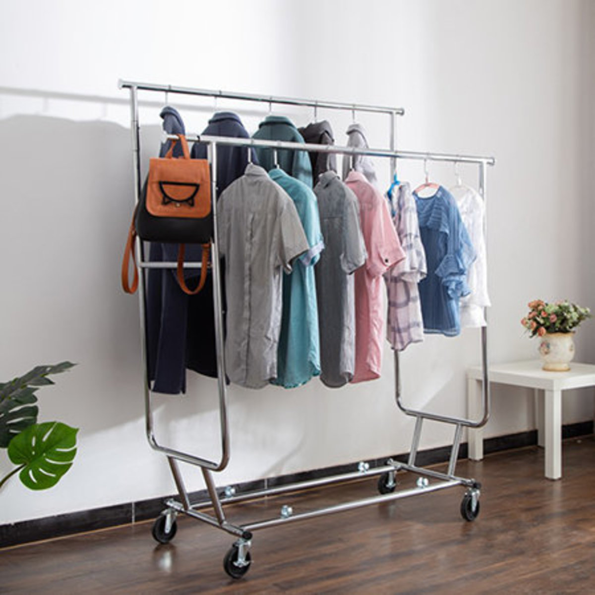 Multifunctional folding and retractable clothes drying rack movable clothes drying rack - D600173