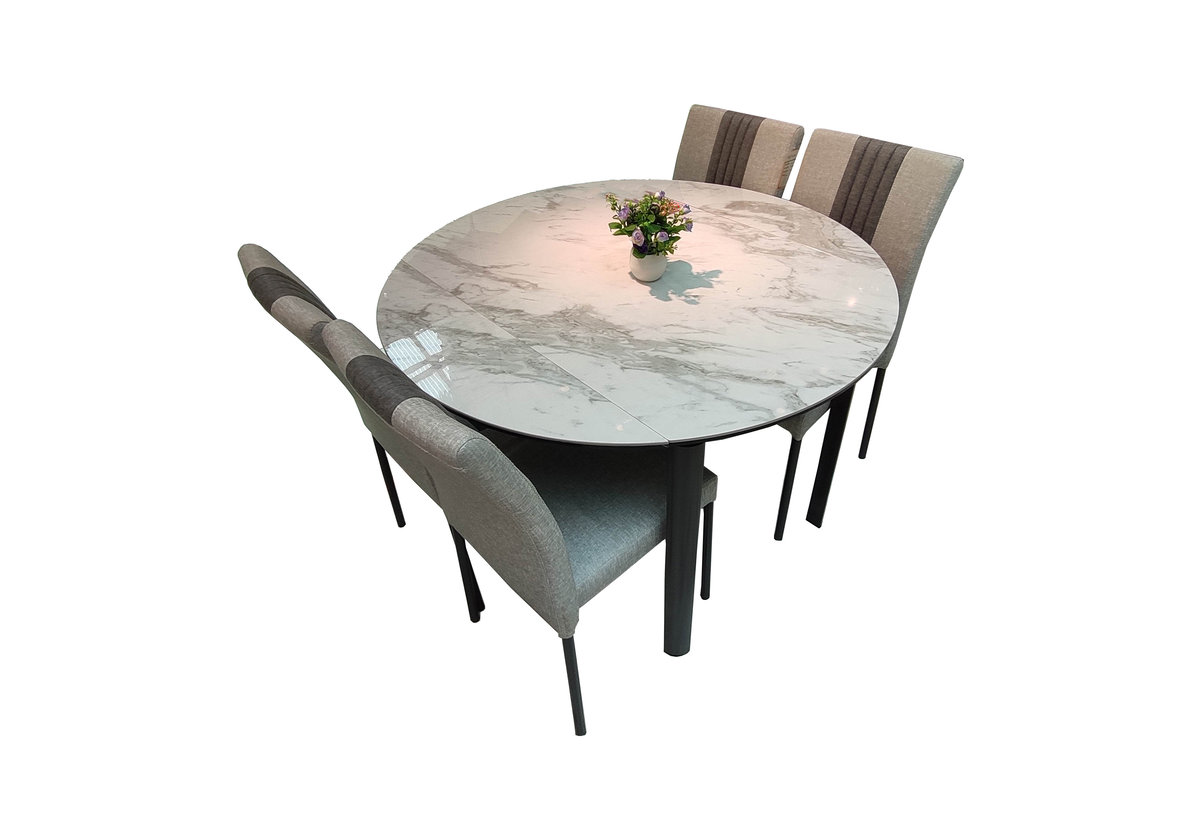 Ceramic surface dinner table with four chair