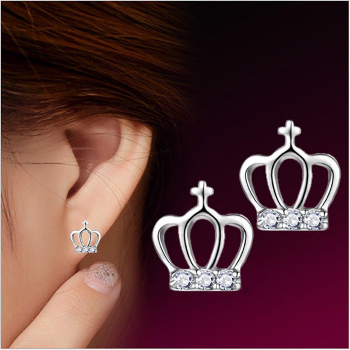 韓國JK高貴簡約十字公主皇冠耳釘鍍銀耳飾