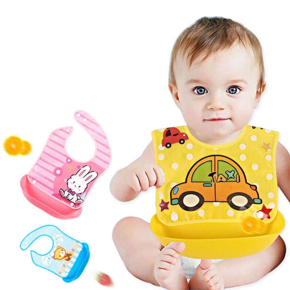 嬰兒學食卡通防水圍兜