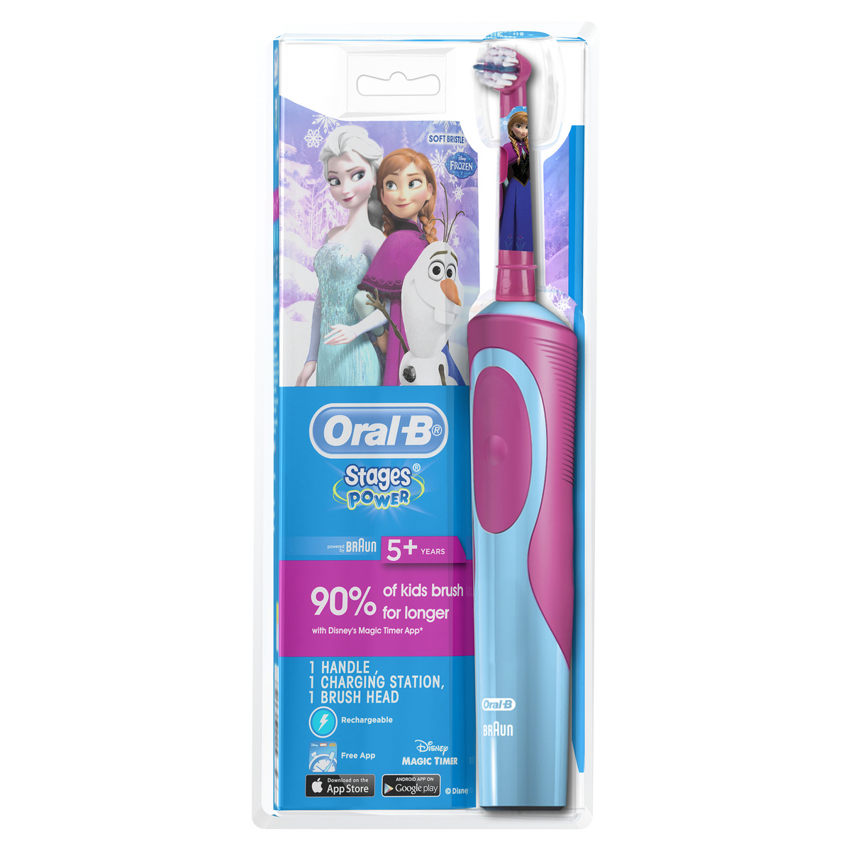 D12K Kids Power Stages Rechargeable Electric Toothbrush with Frozen