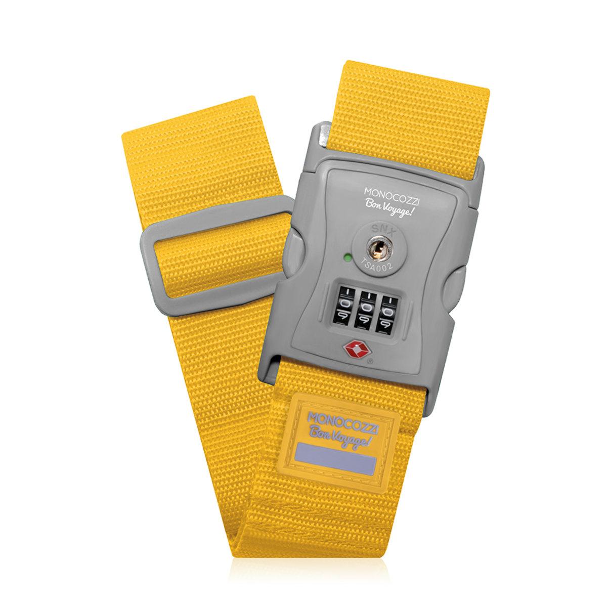 "Bon Voyage 2"" TSA Luggage Belt / Buckle Type / 3-Dials Lock - Yellow"