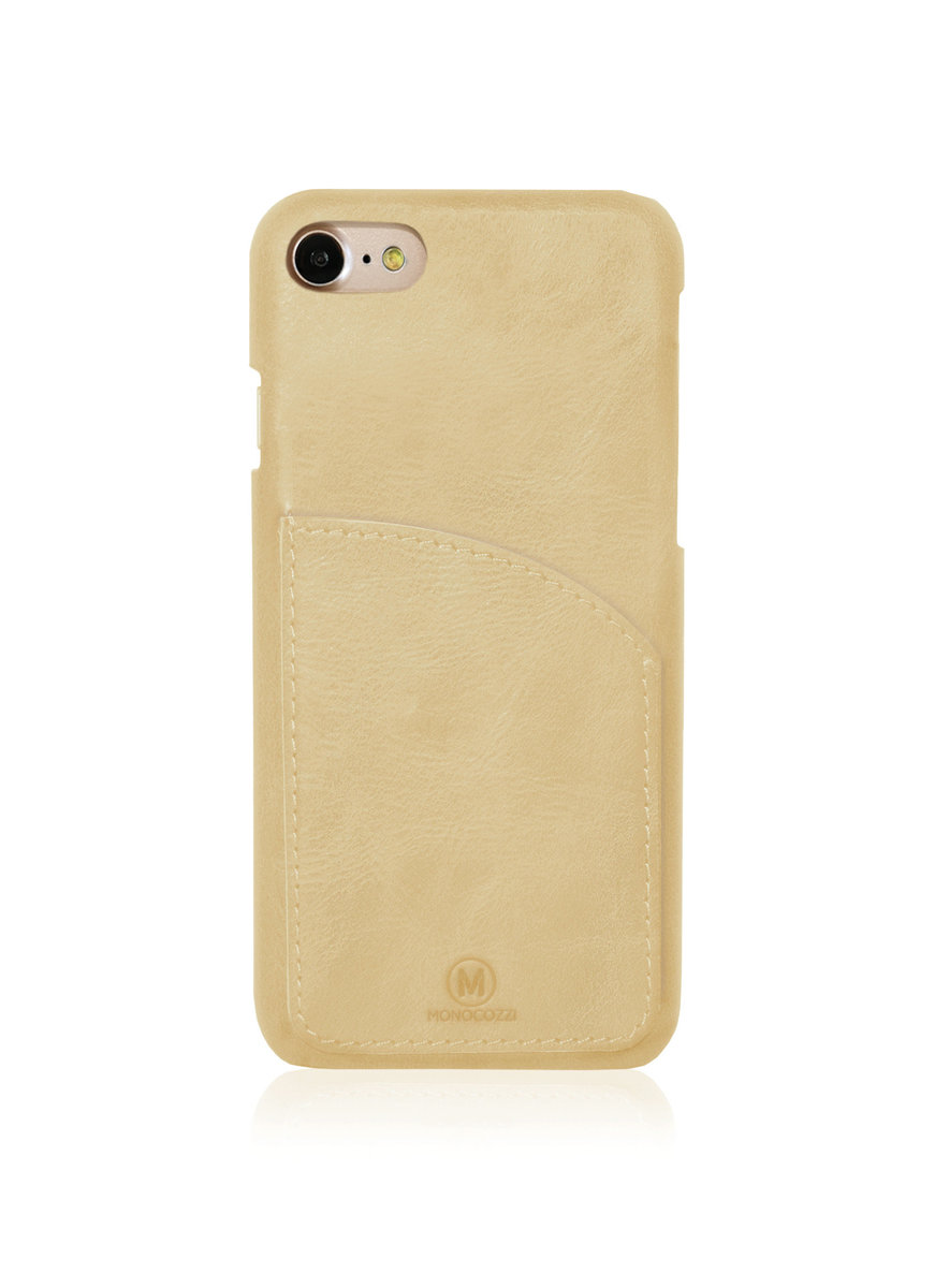 EXQUISITE | Genuine Leather Case with Pocket for iPhone 8/ 7 - Cream