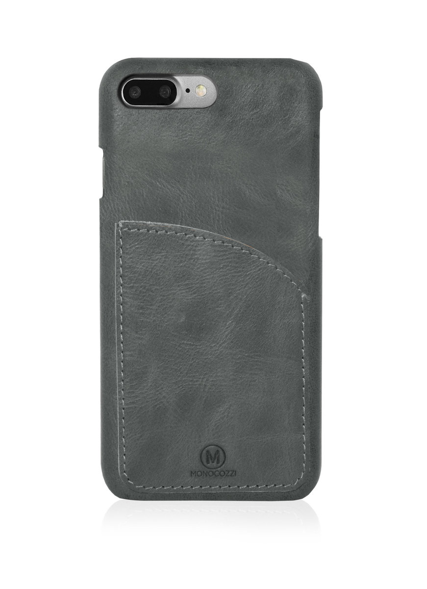 EXQUISITE | Genuine Leather Case with Pocket for iPhone 8 Plus/ 7 Plus - Charcoal