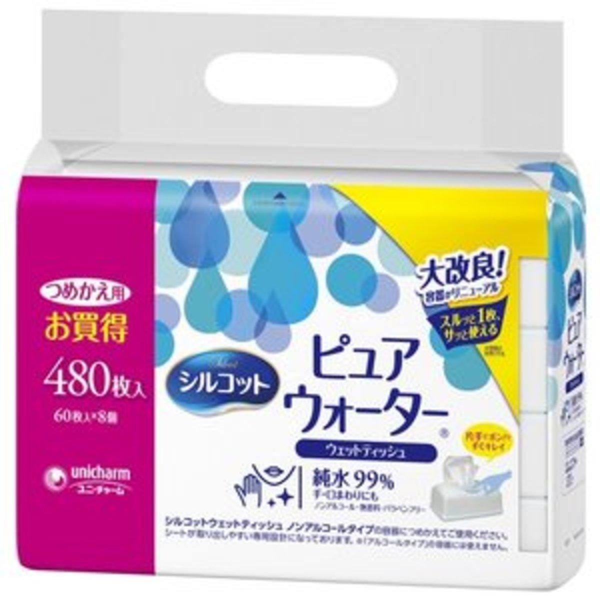 純淨水濕紙巾(60片 x 8) (平行進口貨品)
