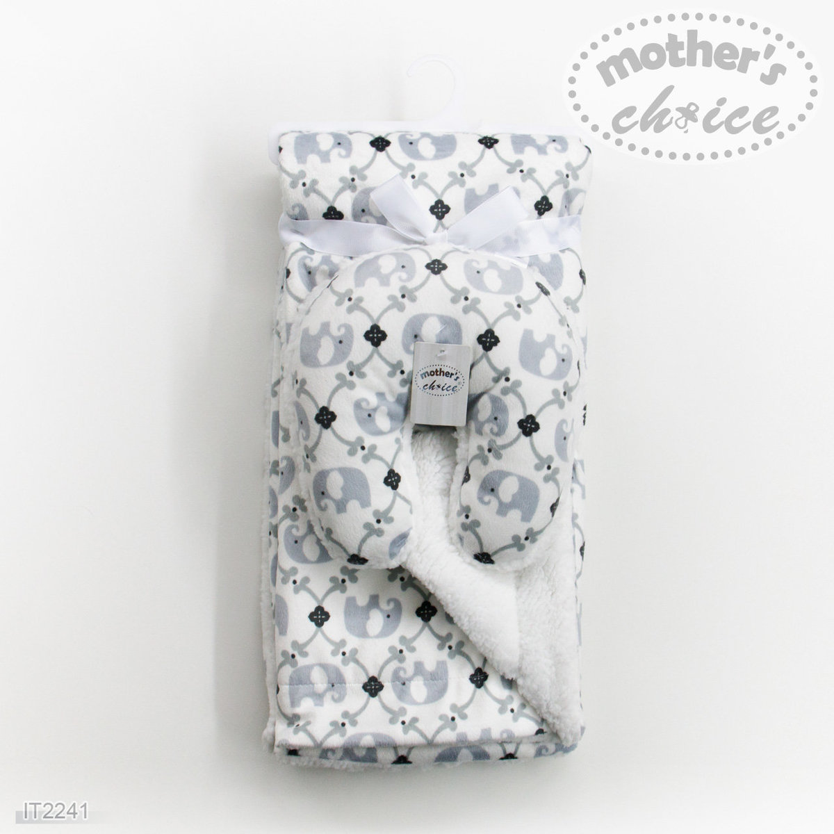 Baby Blanket and Travel Pillow (Grey Elepahnt)
