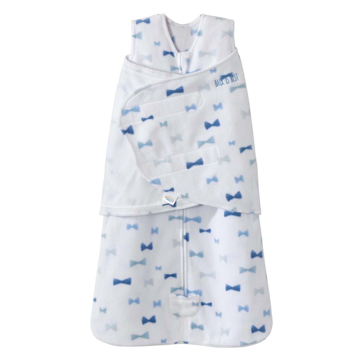 Winter Halo Fleece Swaddle (Blue Bowties/S/3-6mth)