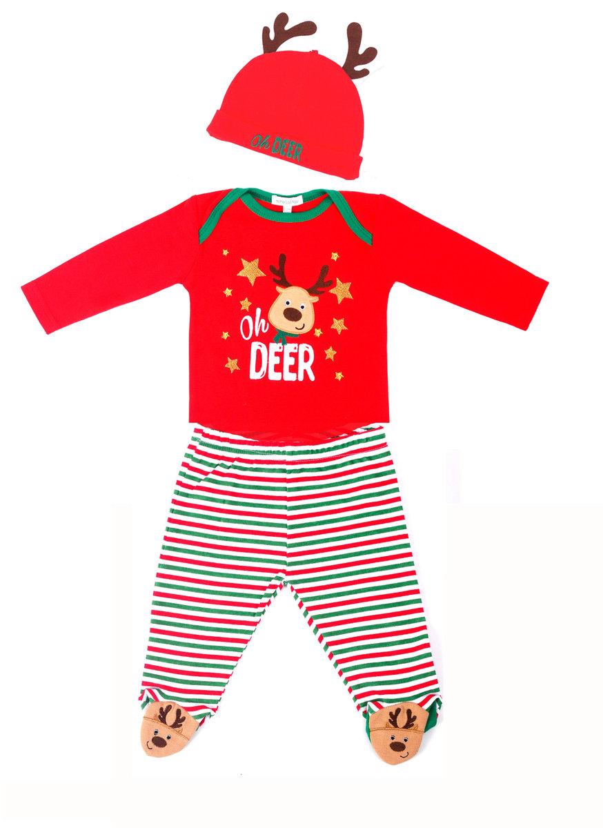 (0-3M) Reindeer Xmas 3pcs Set, Bodysuit, Pants & Hat, 100% Cotton