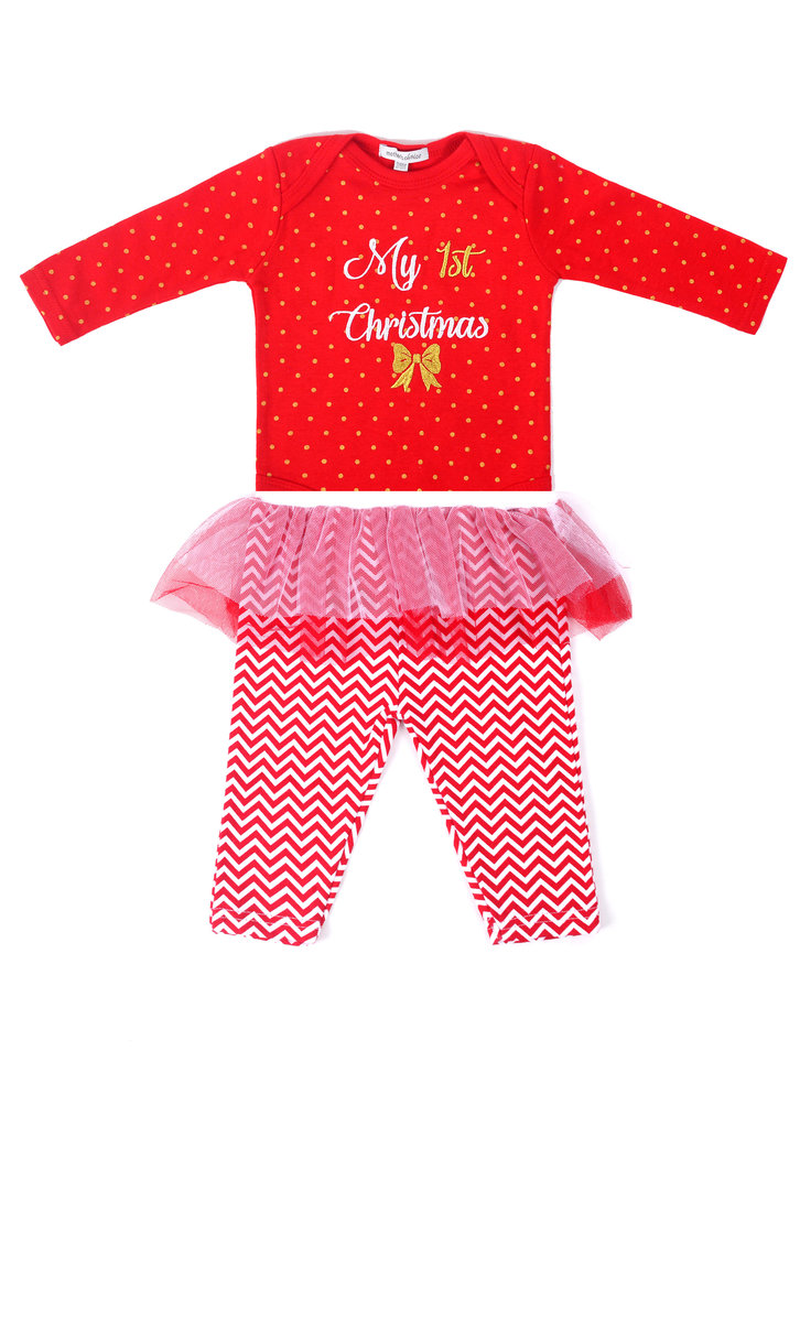 (6-9M) My First Xmas 2pcs Set, Bodysuit & Tutu Legging Christmas Baby Clothes