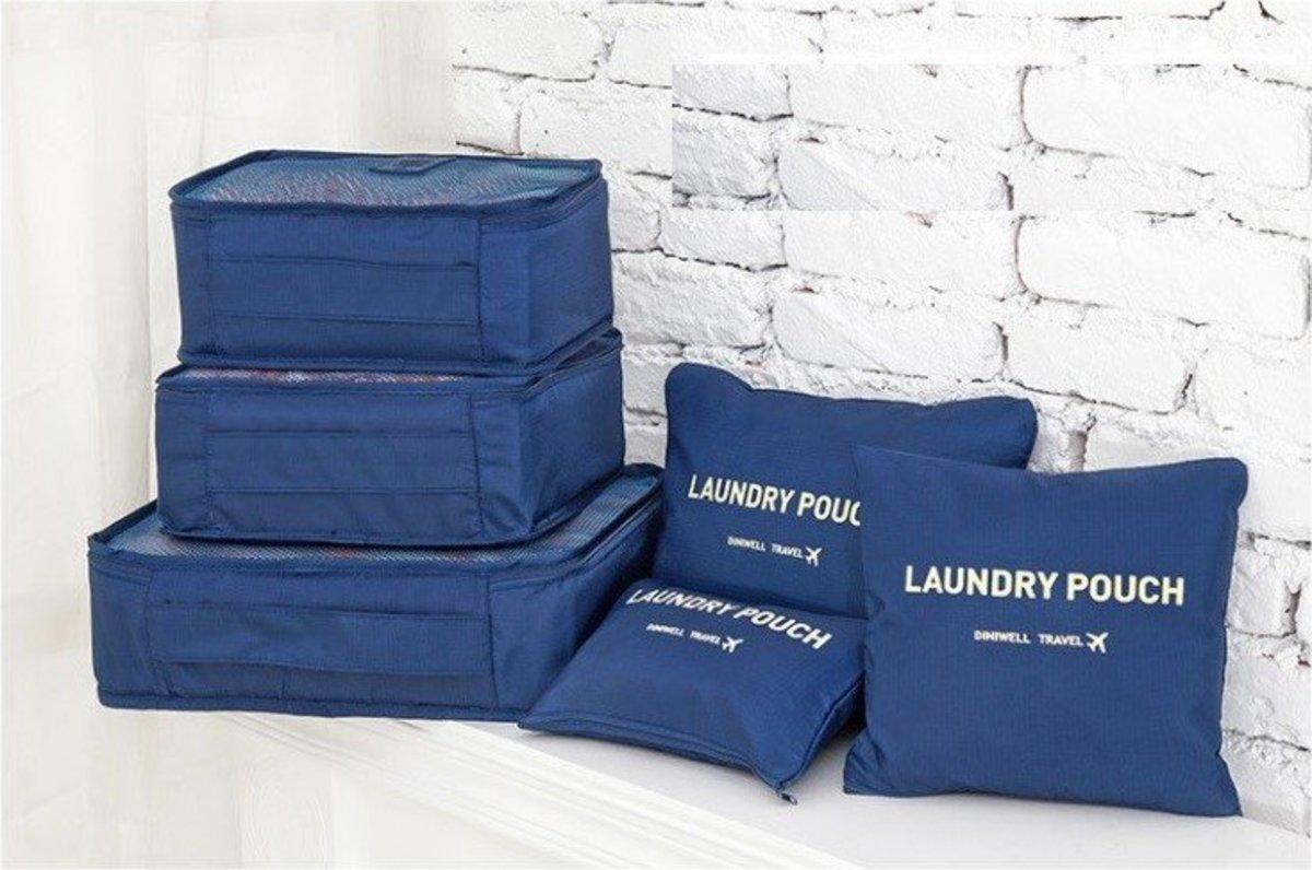 (Dark Blue) Diniwell Korean Style Travel Storage Bag (1 set of 6 pcs)
