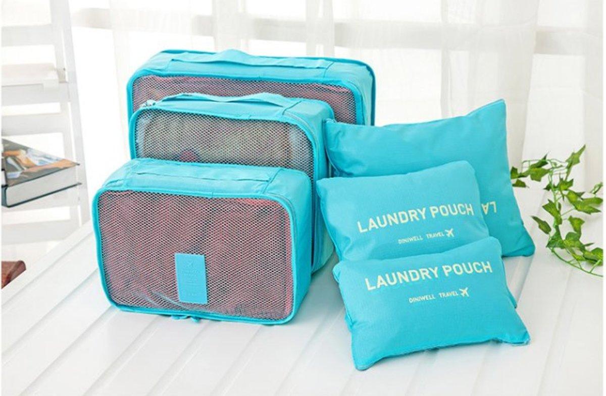 (Azure) Diniwell Korean Style Travel Storage Bag (1 set of 6 pcs)