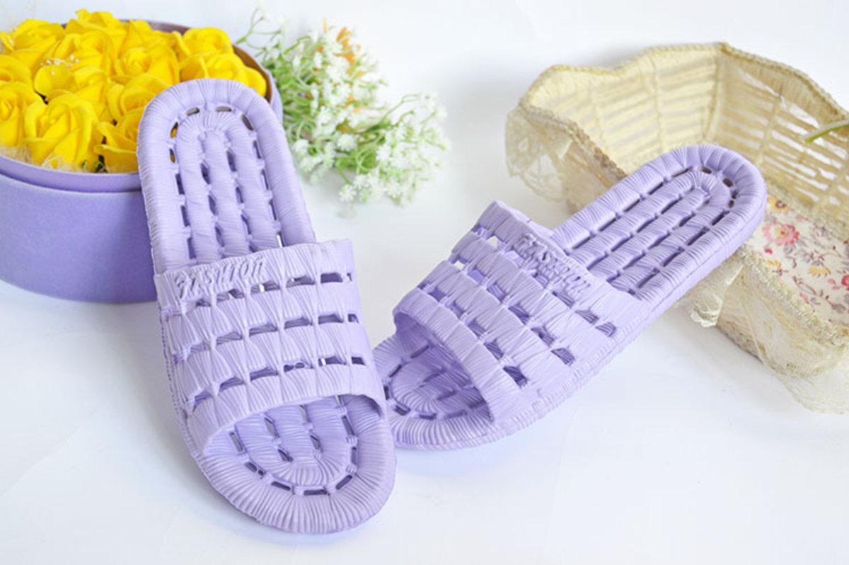 (紫色) 日式防水防滑拖鞋 浴室適用 有窿去水防滑 S-XXL (S 36-37) (D)