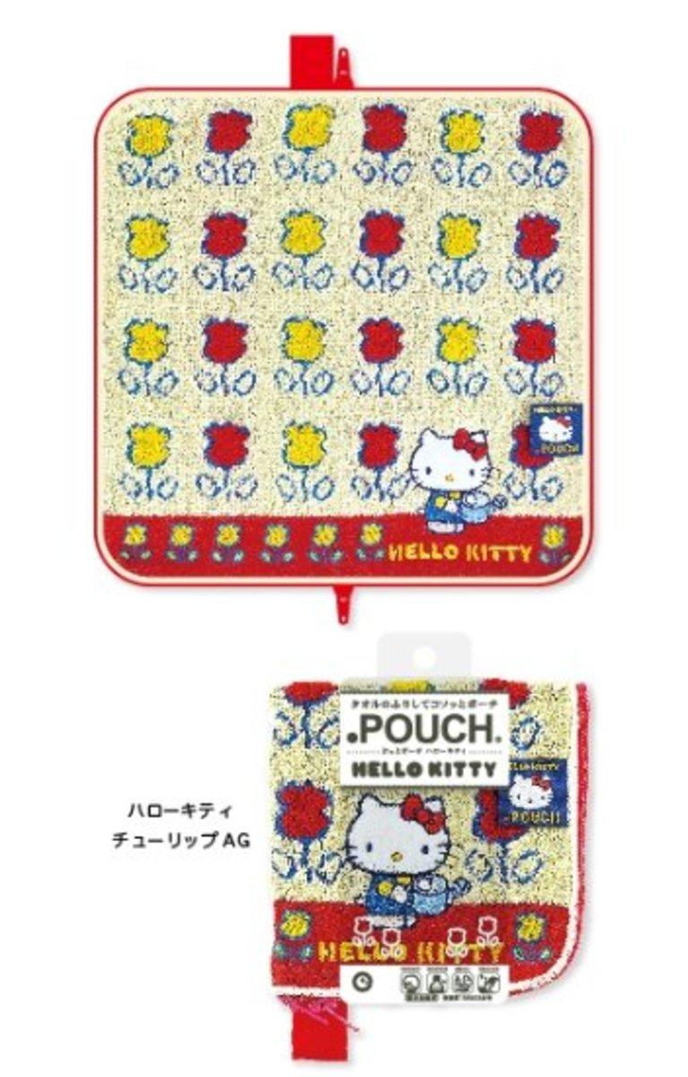 (白色Hello Kitty花花) 日本超人氣卡通多用途 雨遮/水樽毛巾套