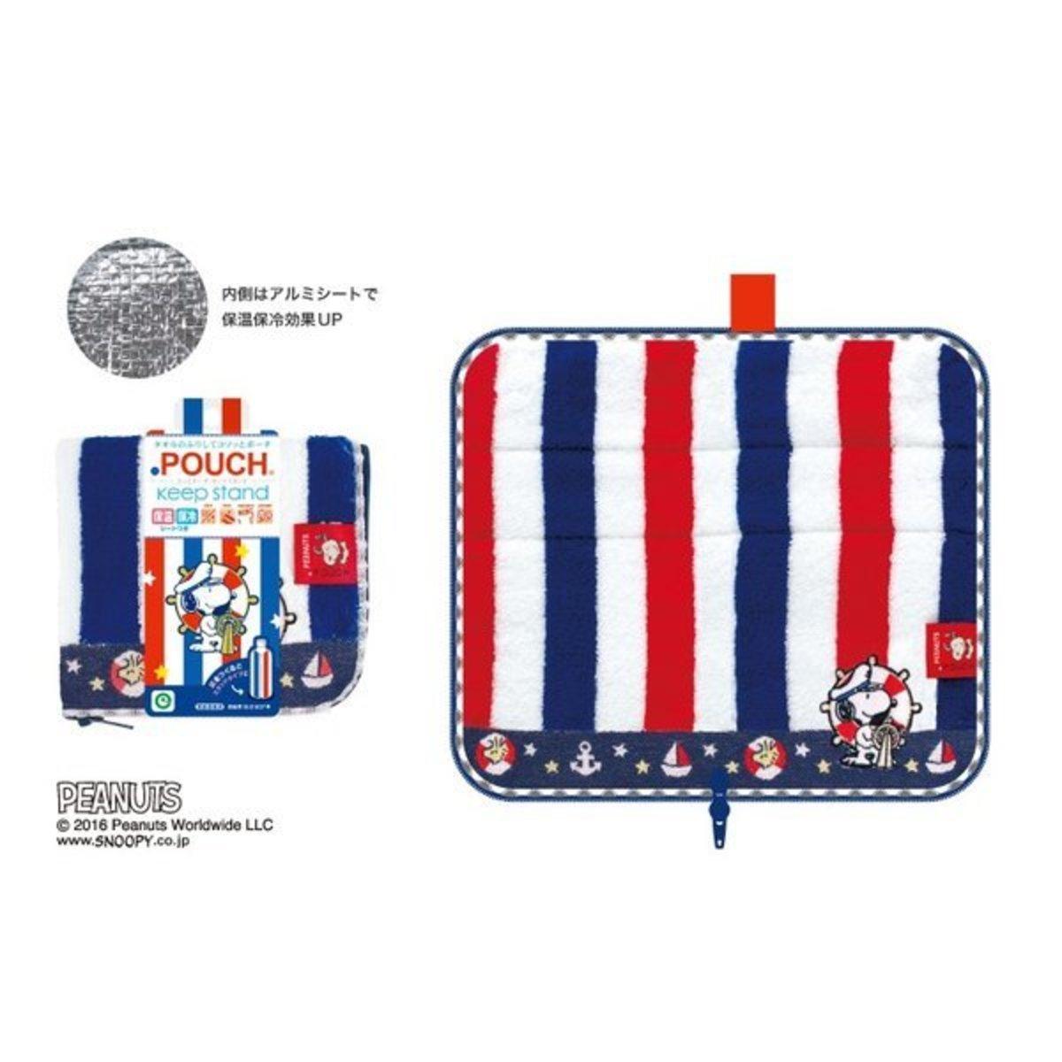 (藍紅間條史諾比) 日本超人氣卡通多用途 奶樽/水樽保温毛巾套