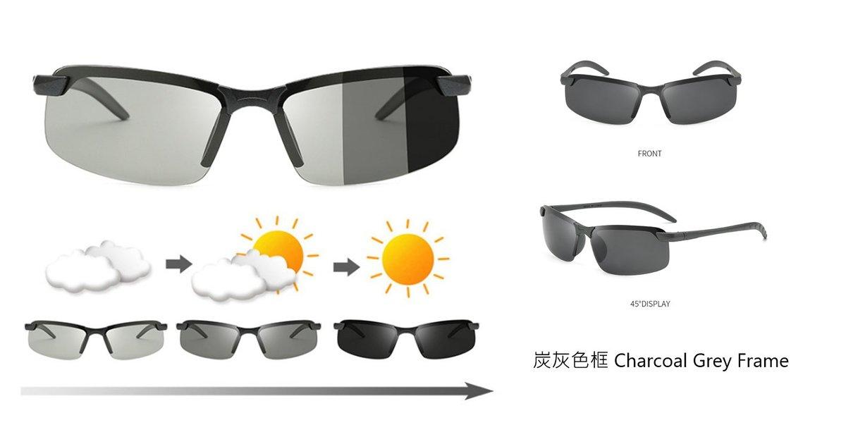 (Charcoal Grey Frame Grey Lenses) Photochromic TAC Polarized Sunglasses UV400 (Spring Hinges) x 1 Pair