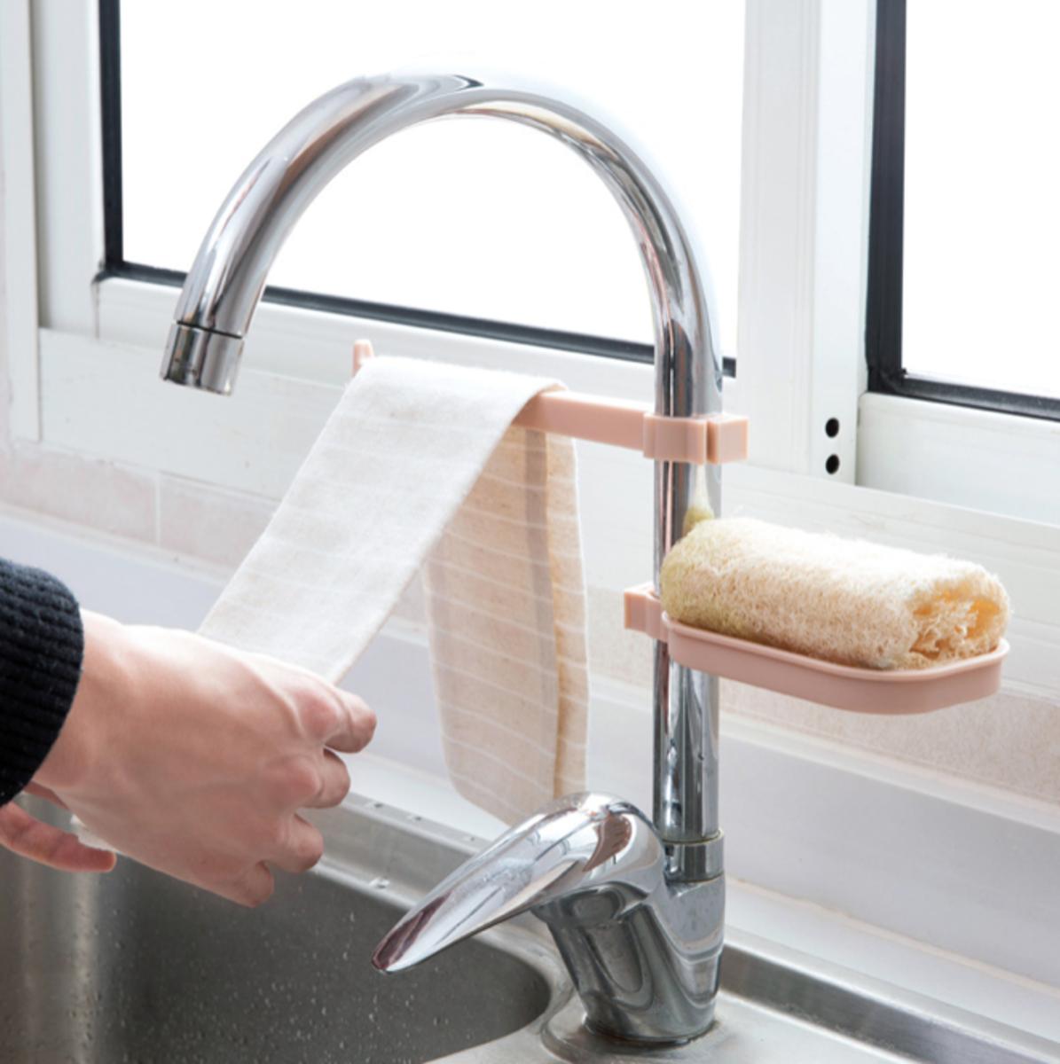(粉紅色) 廚房浴室水龍頭瀝水架/抹布架