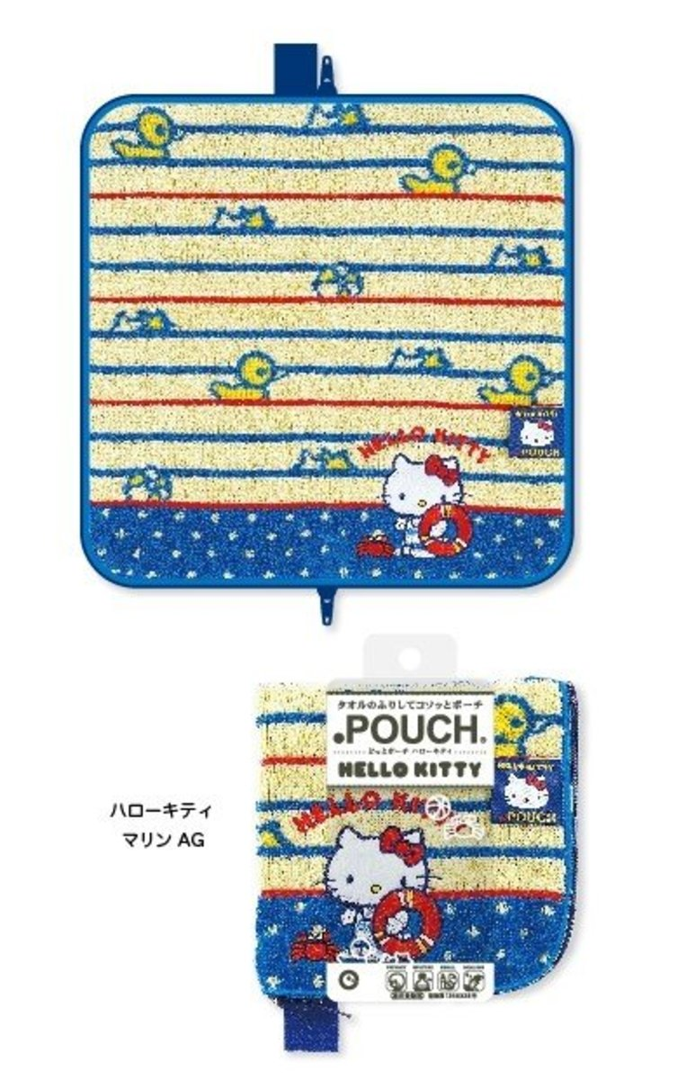 (Blue Hello Kitty Crab) Japan Multi-function Towel Pouch for Umbrella/Water Bottle