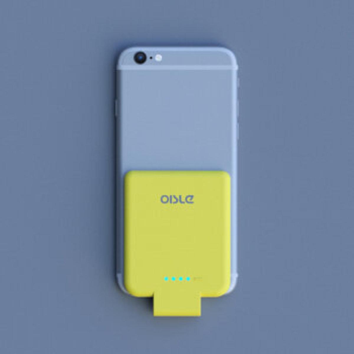 (黃色) Oisle iPhone Lightning 超薄無線背夾式充電器 2800mAh