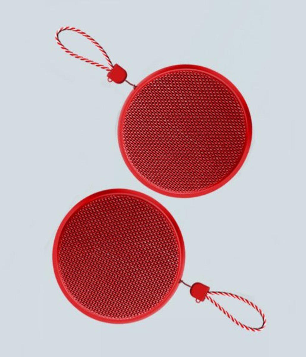 (Red) Mini Portable Hanging Wireless Bluetooth Speaker