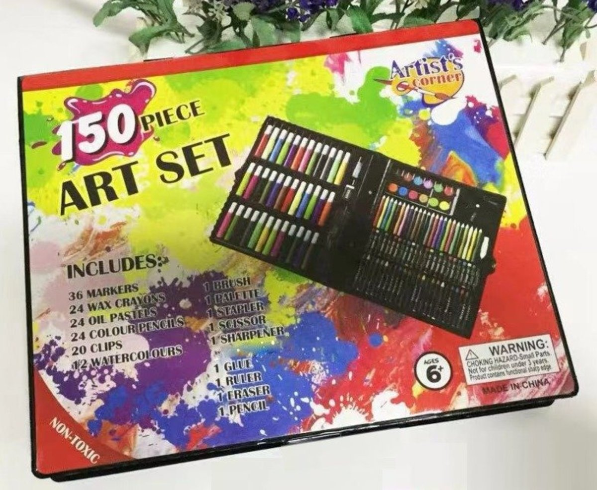 (Black) 150 pcs Drawing Pens & Stationery Set (Wax Crayons/Oil Pastels/Colour Pencils/Water Colours/ Markers etc) x 1 Box