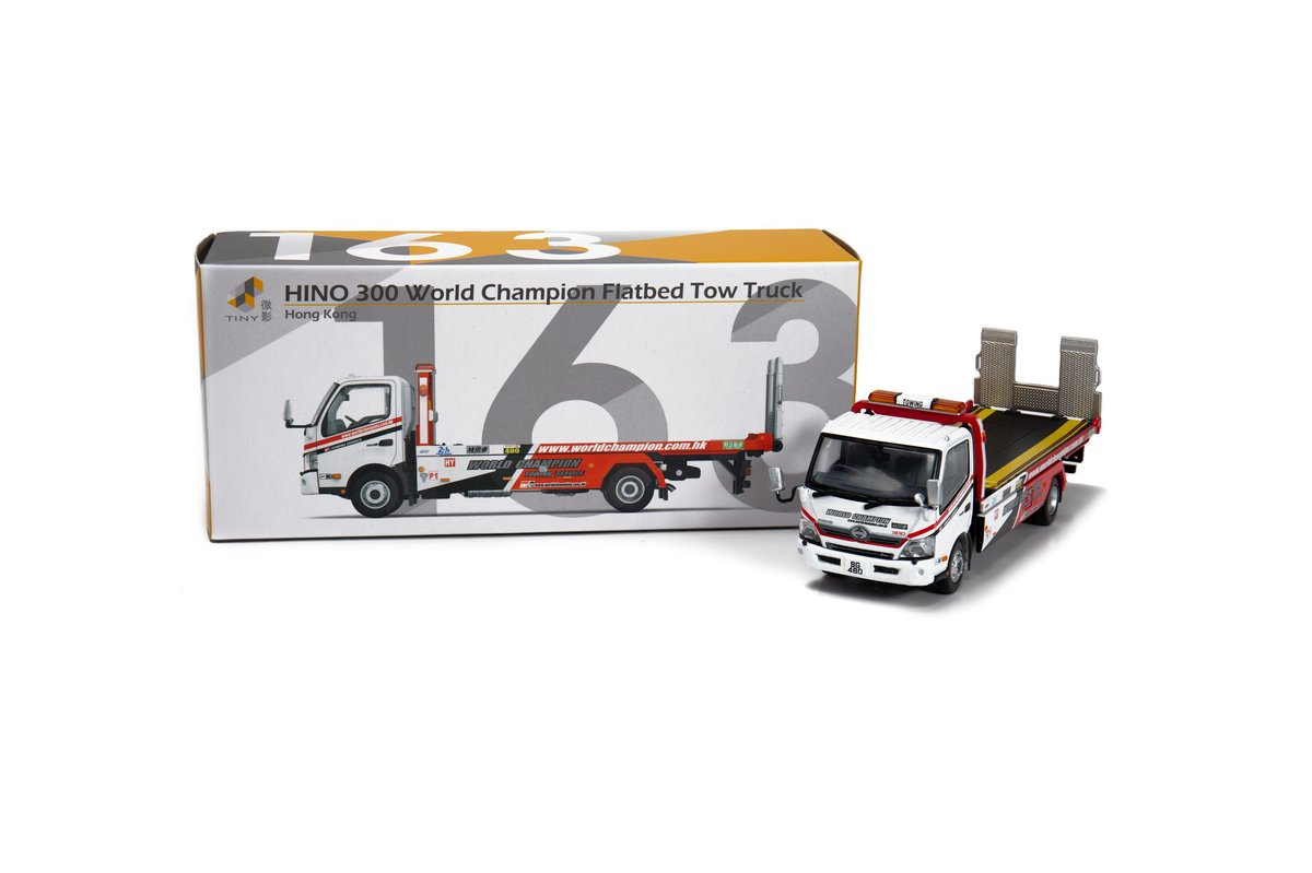 Tiny City 163 Die-cast Model Car - HINO 300 World Champion Flatbed Tow Truck