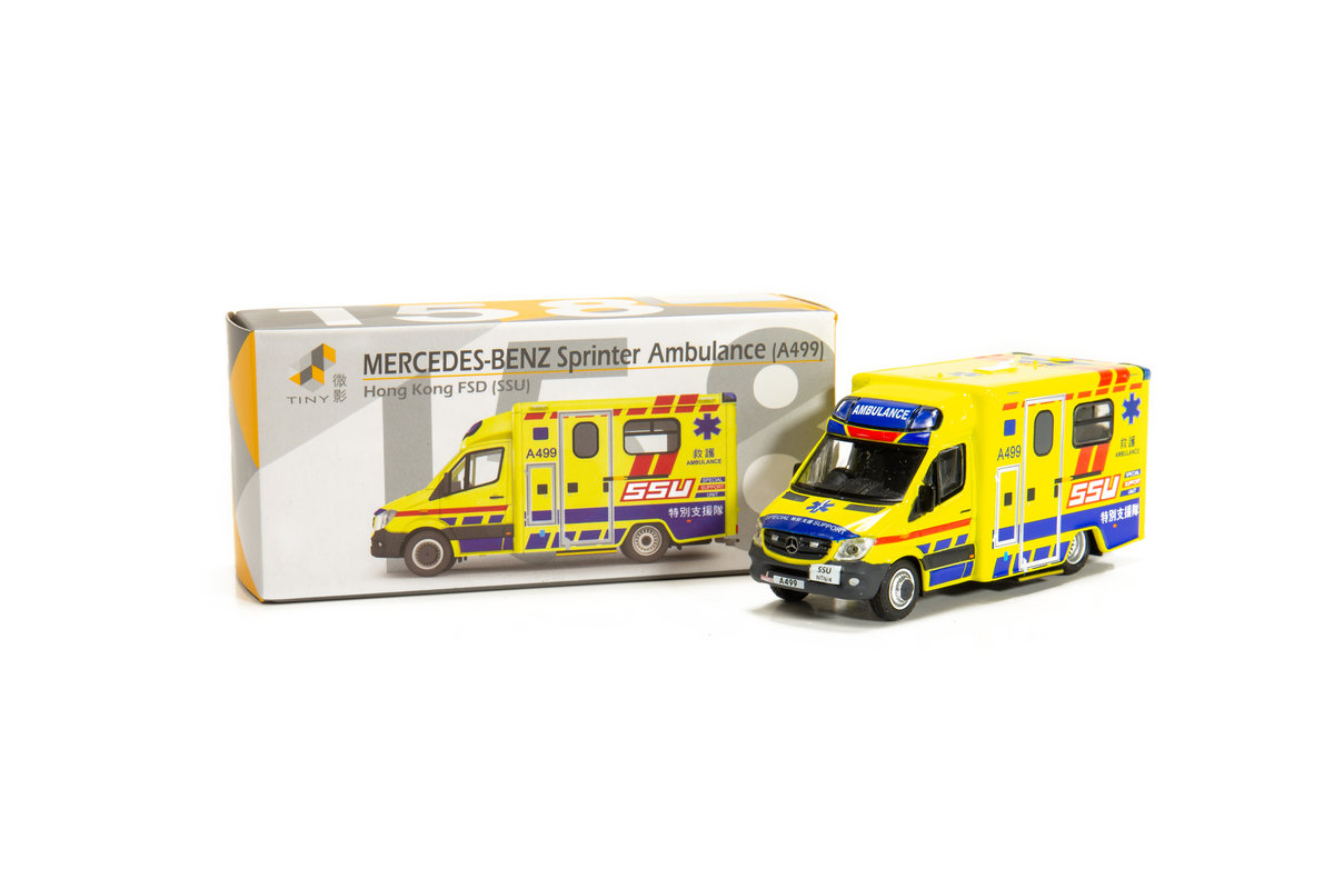 Tiny City 158 Die-cast Model Car - Mercedes-Benz Sprinter Facelift HKFSD Ambulance SSU (A499)