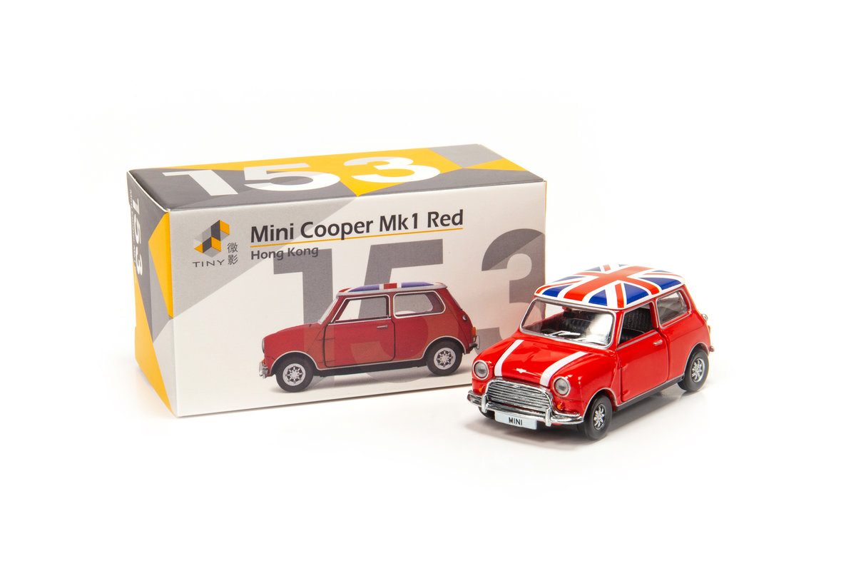 153 Mini Cooper Red with Union Jack Roof & White Bonnet Stripes (RHD)