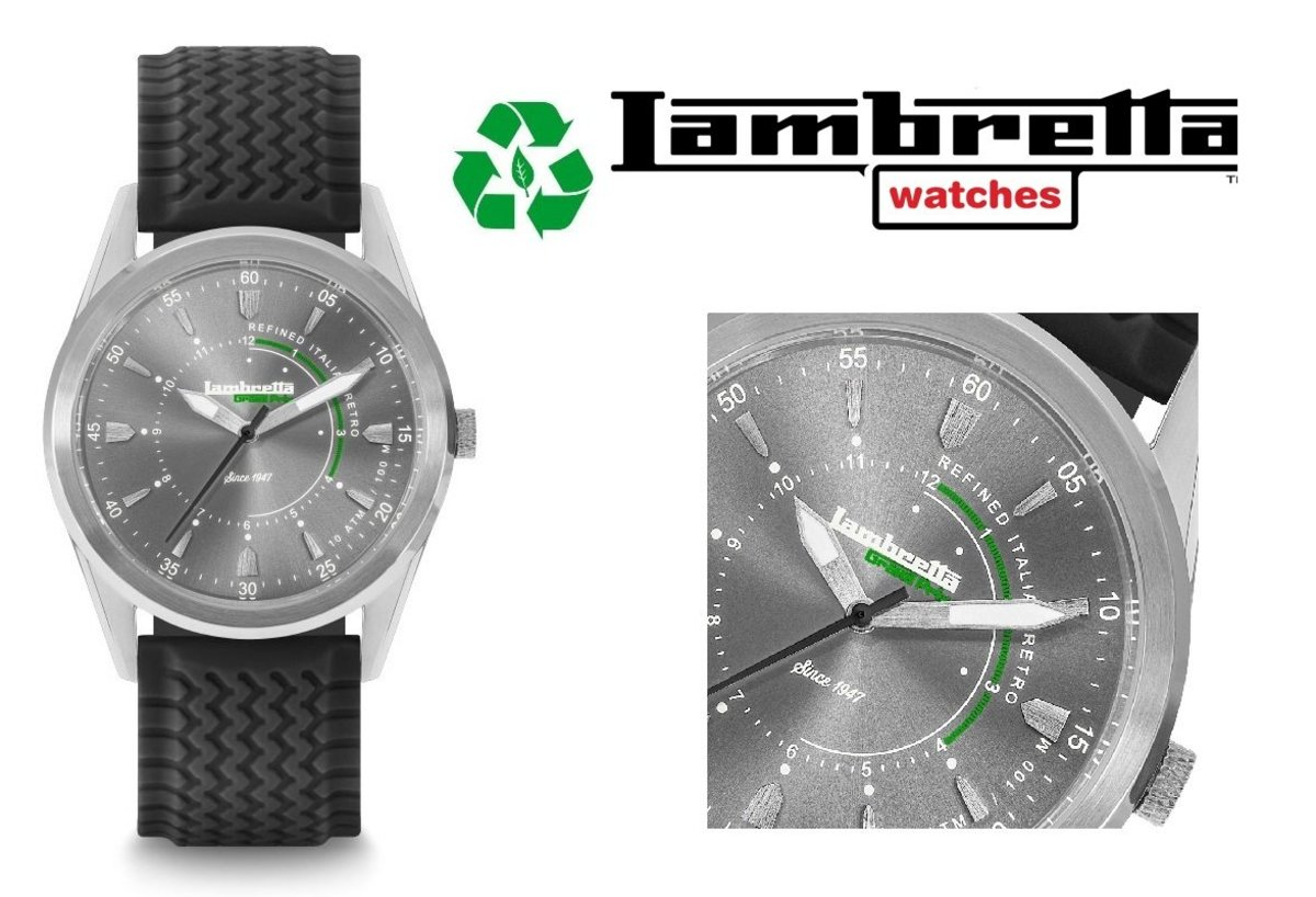 Lambretta watches ~ Marco 40 Rubber Silver Grey Black -2301SIL (Man Style)-50%off
