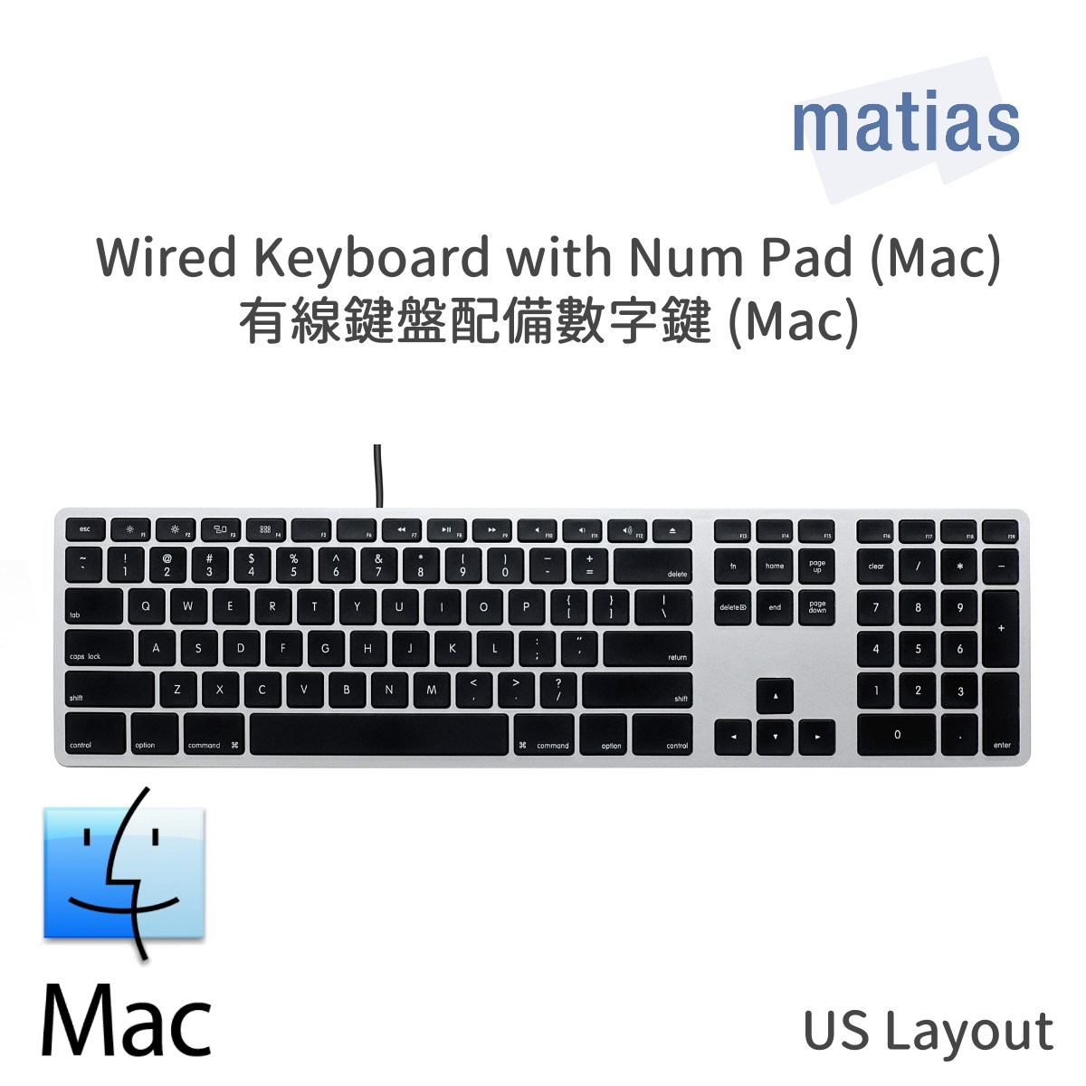 Wired Keyboard with Num Pad (Mac & Win) FK316