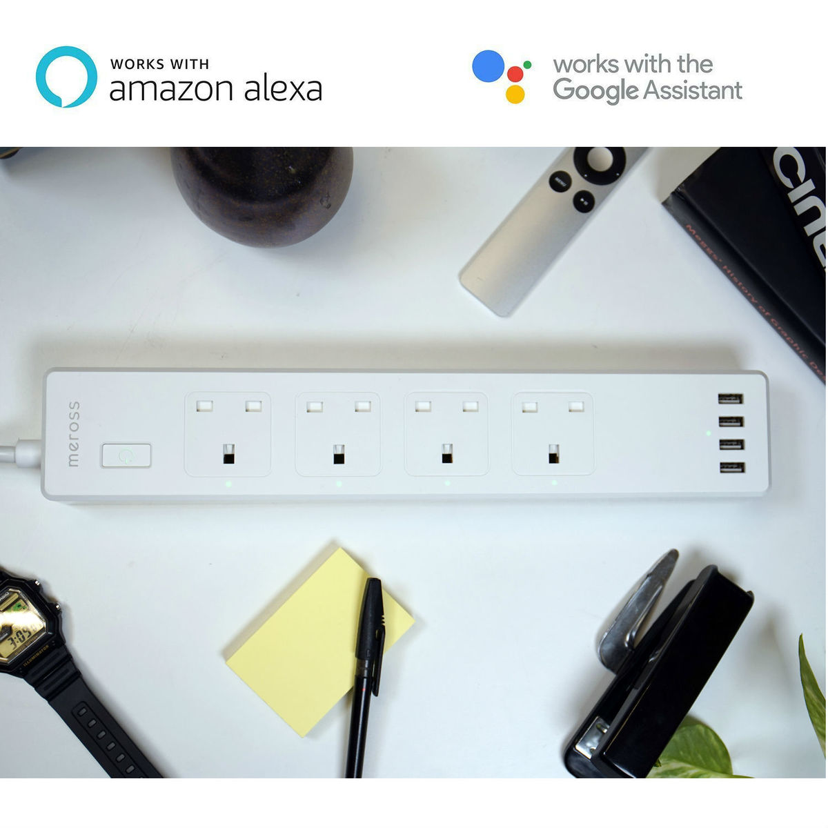 智能家居 — WiFi 智能定時遙控拖板 alexa google 語音控制 4插座 適合家長使用 ZLD-44UK-W