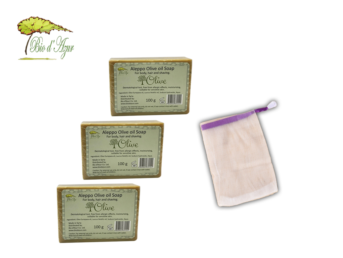 3x Aleppo Olive oil soap 100g and soap foam net