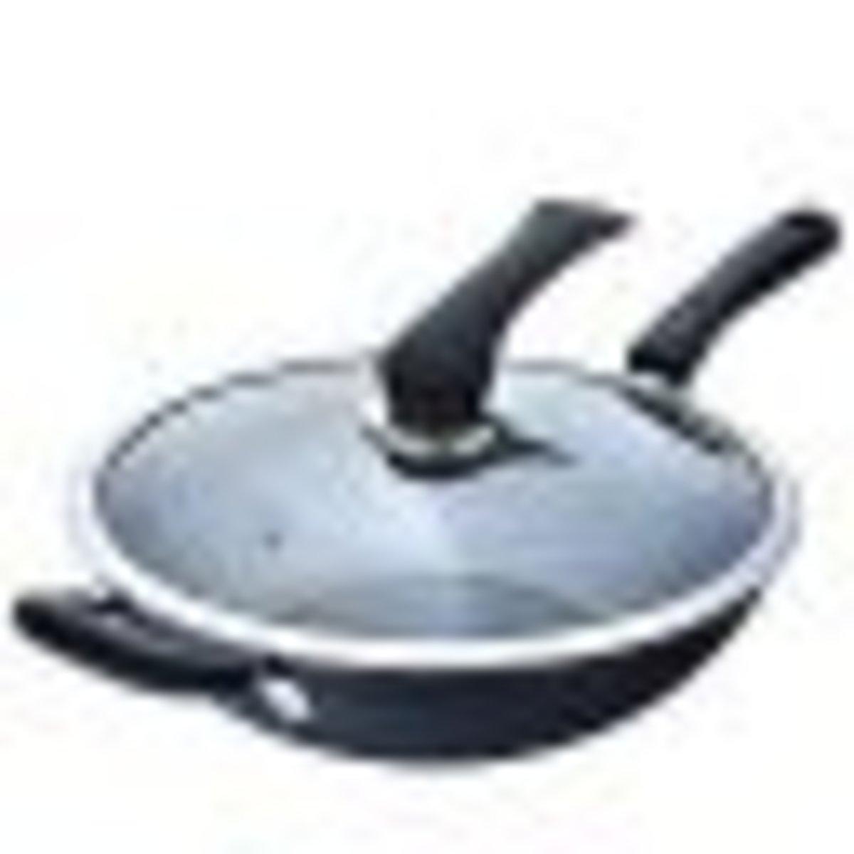 32cm Iron Steel Wok with glass lid