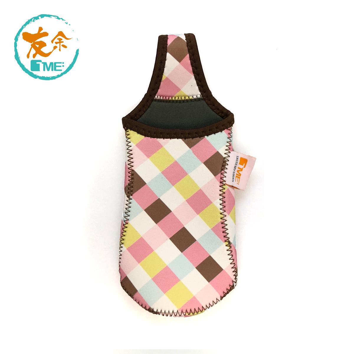 Portable Bottle Cover - Plaid/Pink
