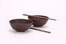 Purple Clay 2 Bowls (Brown) & 2 Chopsticks set