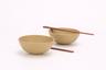 Purple Clay 2 Bowls (Yellow) & 2 Chopsticks set