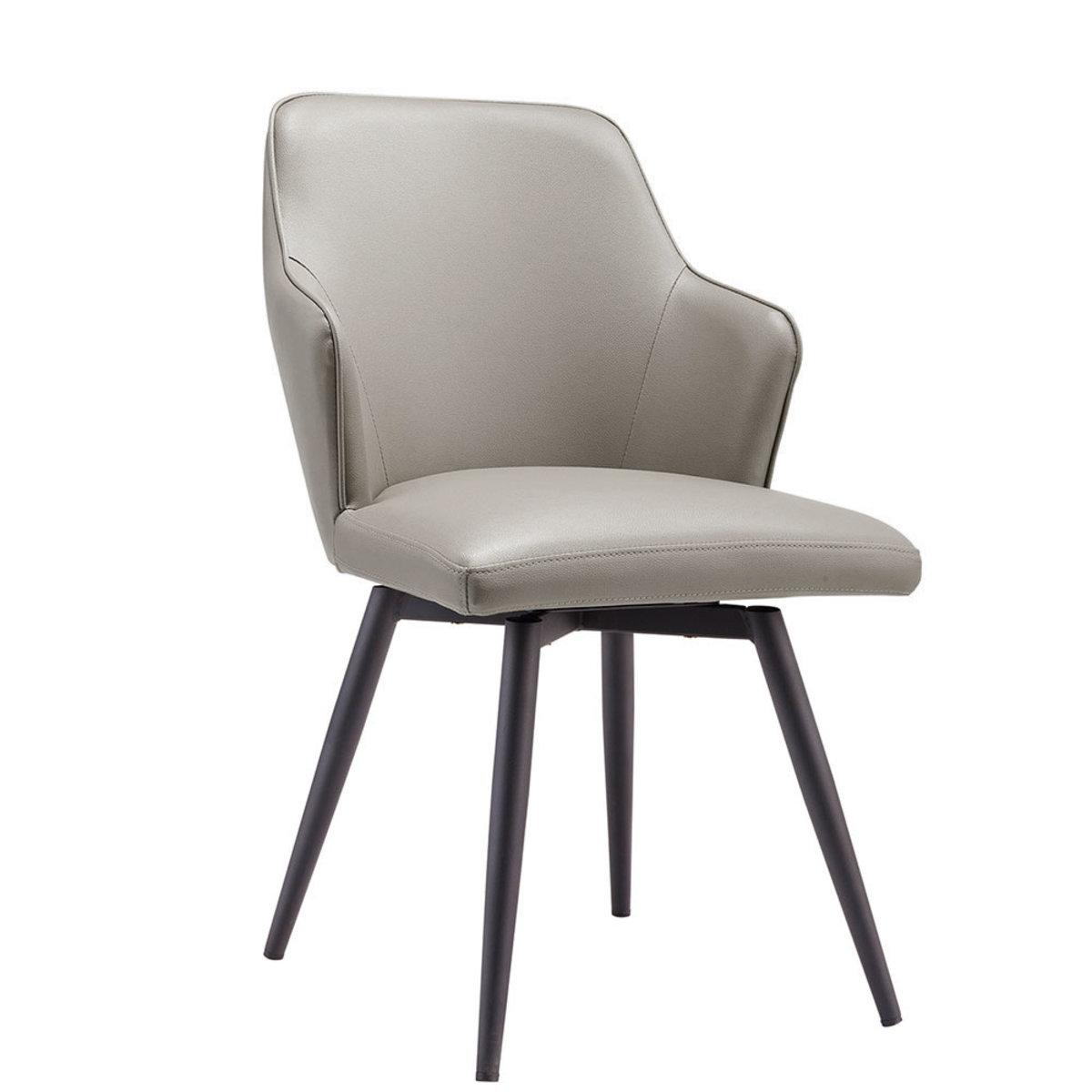 180度旋轉 仿皮餐椅 (灰色+黑沙鐵腳)