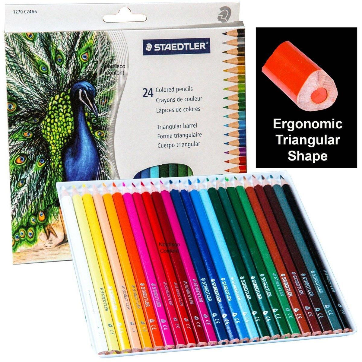 Pencils Coloured Triangular Set Of 24