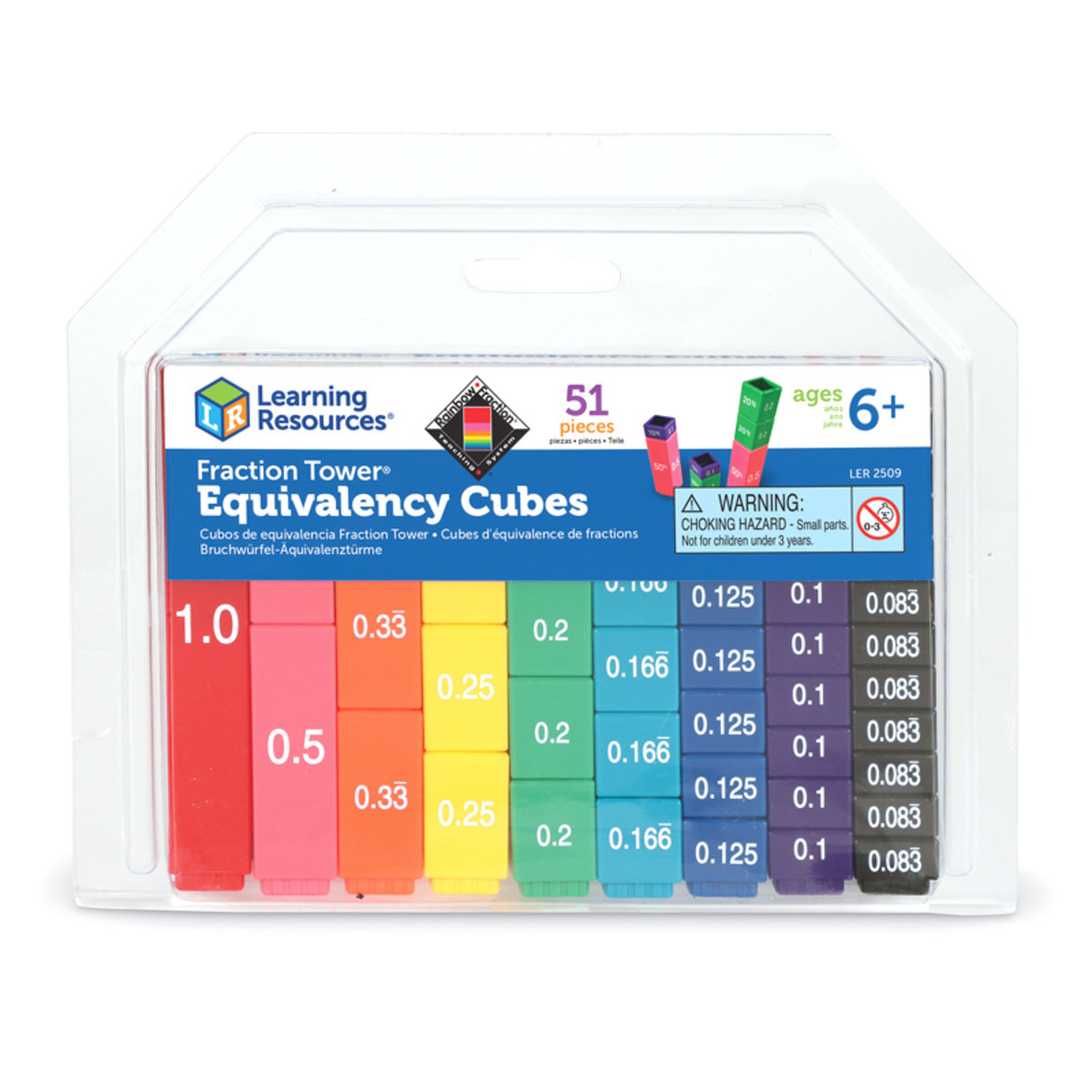 Fraction Tower Equivalency Cubes, Set of 51