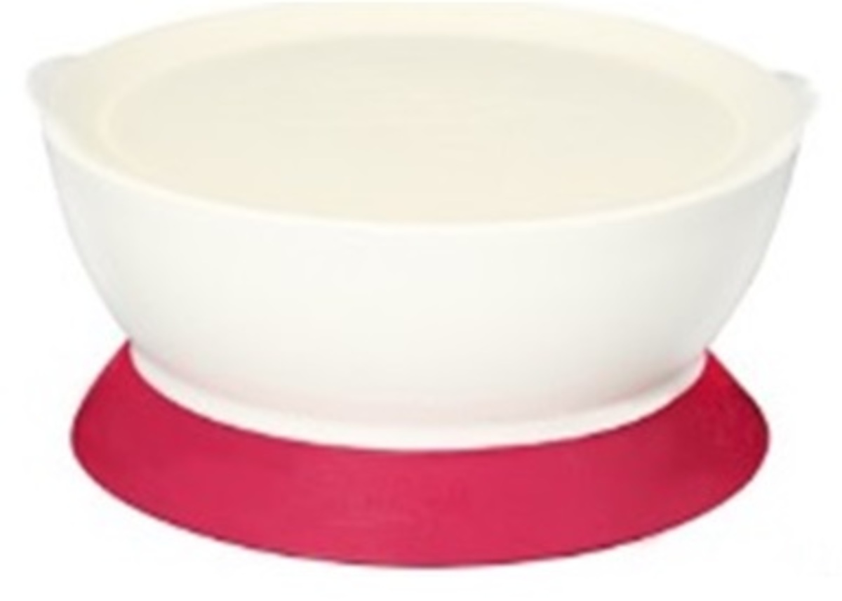 CaliBowl Non-Spill Toddler Suction-Base Bowl with Lid (Pink)