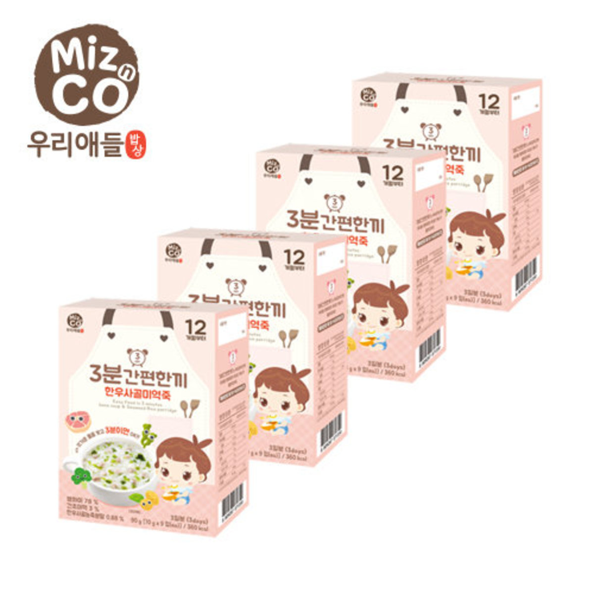Rice Porridge - Korean Beef Bone Soup & Seaweed (+12 M) - 4 Packs