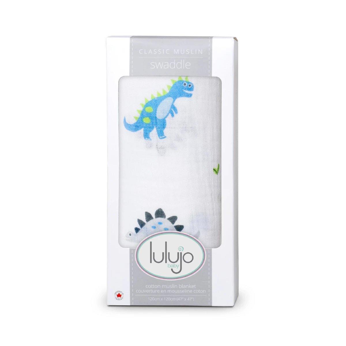 Lulujo Prehistoric Pals Swaddling Blanket Blue//Green One Size