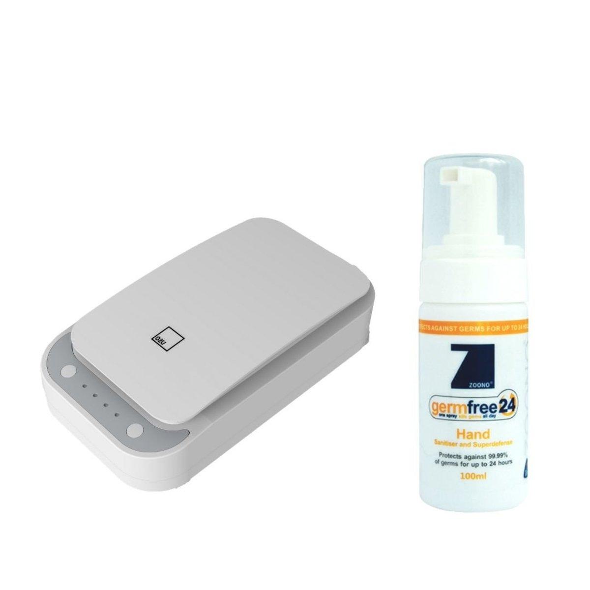 O2U 手機紫外綫殺菌消毒機 + ZOONO 24小時長效殺菌護手液100毫升