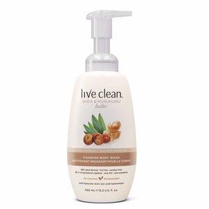 Live Clean 泡沫滋潤浴露 - 乳木果及棕櫚乳脂 450ml