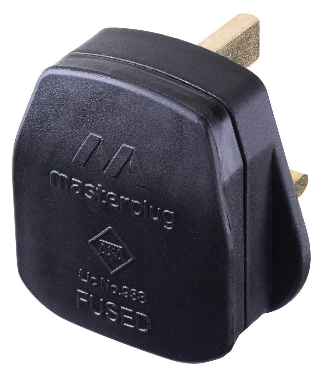 13A保險絲英式三腳插頭 可重新接電線 黑色 PT13B