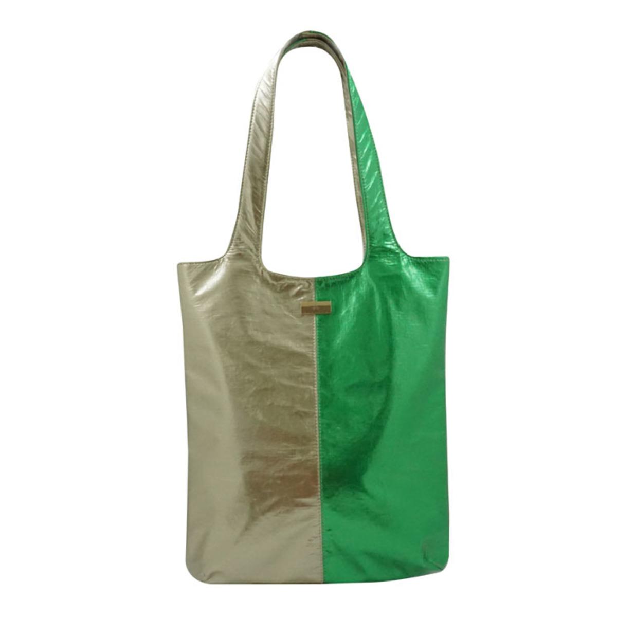 雙色金屬手提包