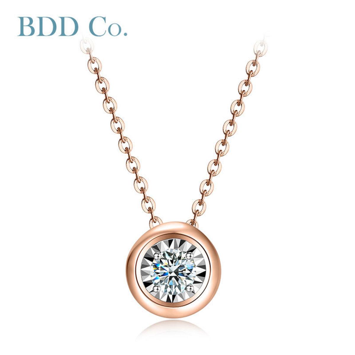 18k 玫瑰金泡泡鑽石項鏈(0.030 克拉總重量)